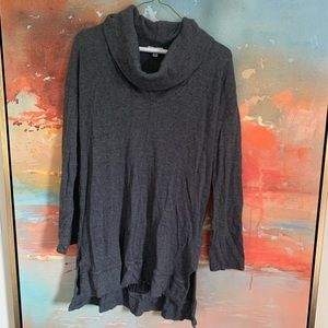 Splendid charcoal grey waffle cowl neck sweater